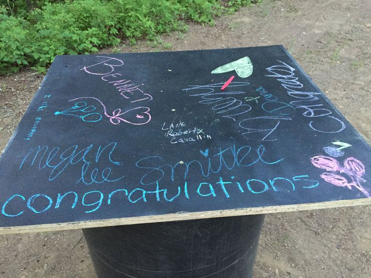 Graduation Cap High Top Table for Grad Party. Use a Barrel drum, and chalkboard spray paint on plywood, to create a high top table for people to stand around and leave well wishes for the graduate.  @sueeld