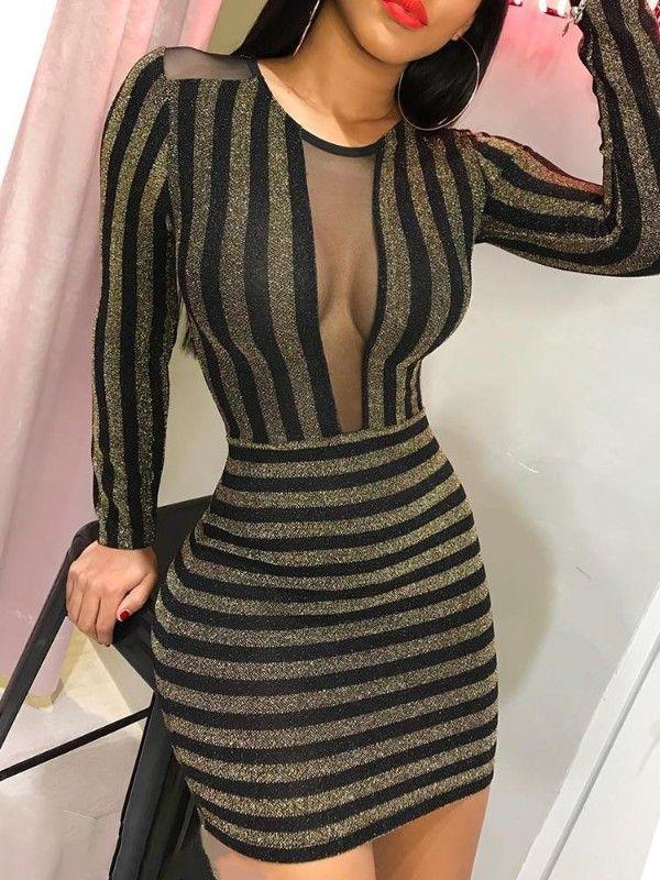167d90ecf Vestido ajustado con aplicación de malla transparente de purpurina ...