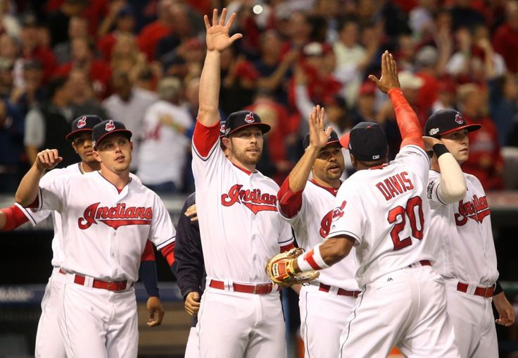Cleveland Indians celebrate their 5-4 win in the ALDS  playoff game one between the Cleveland Indians and the Boston Red Sox played in Cleveland on Thursday, Oct. 6, 2016. (Thomas Ondrey/The Plain Dealer)