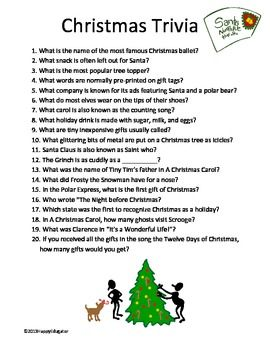 FREE Christmas Trivia - twenty fun questions for your Christmas party. A fun Christmas Trivia quiz, with some surprising answers! Merry Christmas!  Be the first to know about my new discounts, freebies and product launches:        •	Look for the green star near the top of any page within my store and  click it to become a follower.
