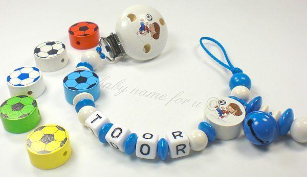 Schnullerkette mit Namen ♥ Fußball Junge ♥ von baby name for u auf DaWanda.com