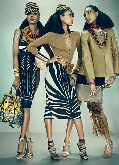 From left: Donna Karan New York's linen and viscose dress. Burberry Prorsum hat; Pebble London necklaces; Michael Kors cuff; Sara Battaglia bag; Donna Karan New York shoes. Michael Kors's merino bodysuit, and teak and hemp skirt. Burberry Prorsum hat; Pebble London earrings; Delfina Delettrez cuffs; Michael Kors belt; Emi George at Couture Lab bag; Tom Ford shoes. Tommy Hilfiger's leather jacket; Max Mara's viscose and leather skirt. Pebble London necklaces; Etro necklace; Amrita Singh…