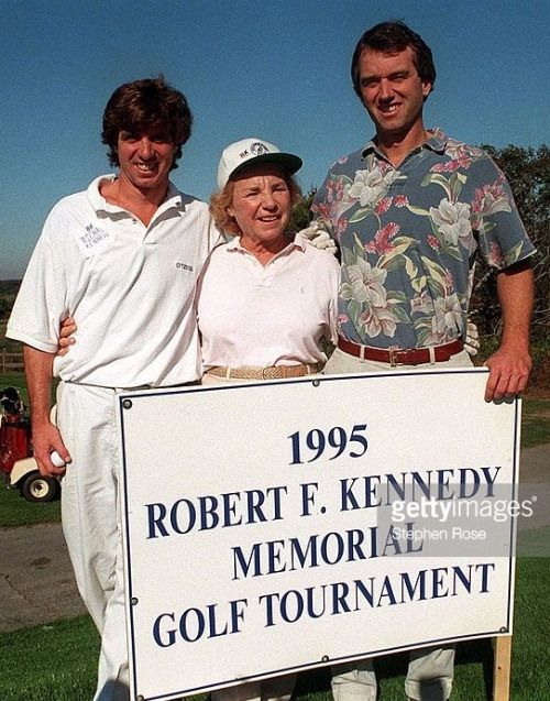 Ethel Kennedy with 2 of her sons, Michael and Bobby Jr.
