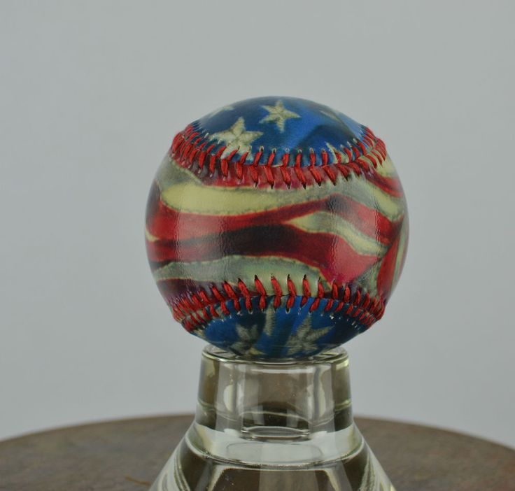 Baseball Art with Glass Display Stand and Protective Display Case - USA Flag - Sport art by Artsportive