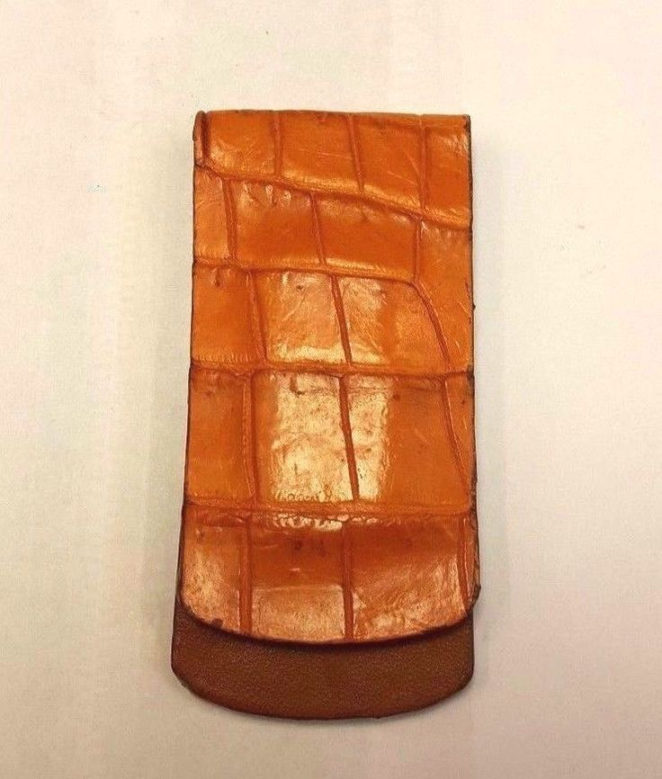 Genuine Crocodile Wallets Skin Leather Mini Money Clip Orange Handmade Magnet #Handmade #MiniMoneyClip