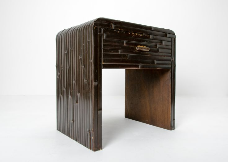 Interesting Art Deco era horse shoe side table. Split cane painted dark bistre over cedar ply and single large drawer with bamboo pull. c1930-40s