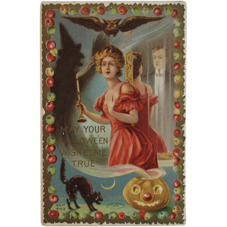 1908 Taggart Halloween Postcard Witch Shadow Black Cat Owl Ghost in Mirror Jack O Lantern Pumpkin Moon and Lady With Candle