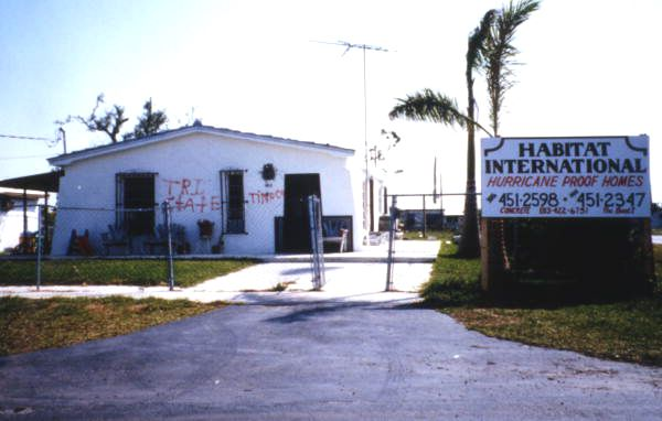 View showing a Habitat International house after Hurricane Andrew in Dade County, Florida.