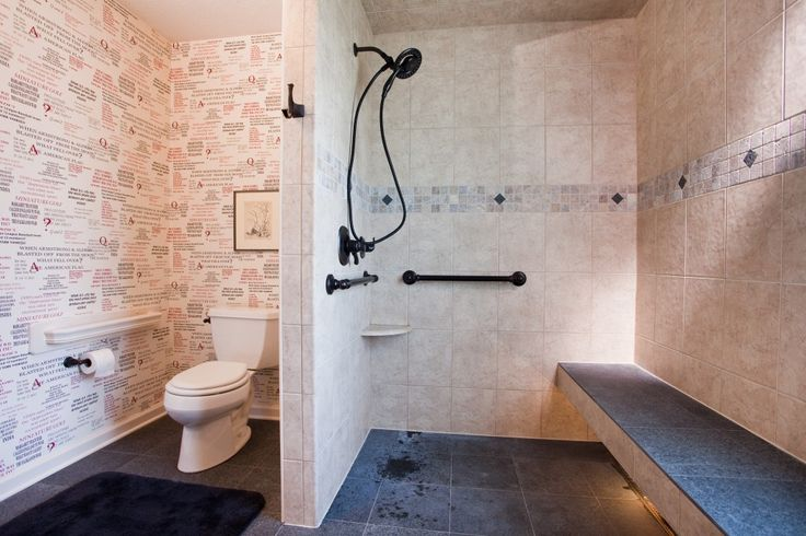 """Aging In Place Bathroom Design. Note the grab bar by toilet made from stair railing.   (Also states:  """"Stairwell chair lift requires a 4 ft. wide stairwell."""")"""