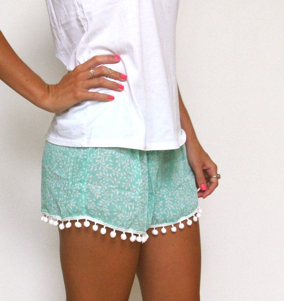 Pom Pom Shorts Mint Green and White Leaf Pattern by ljcdesignss