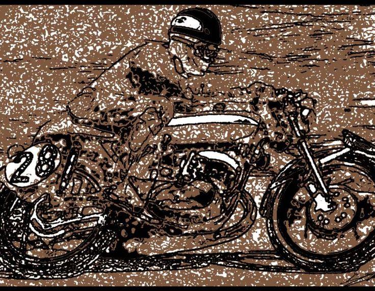 tableau noir blanc moderne moto course vintage peinture. Black Bedroom Furniture Sets. Home Design Ideas