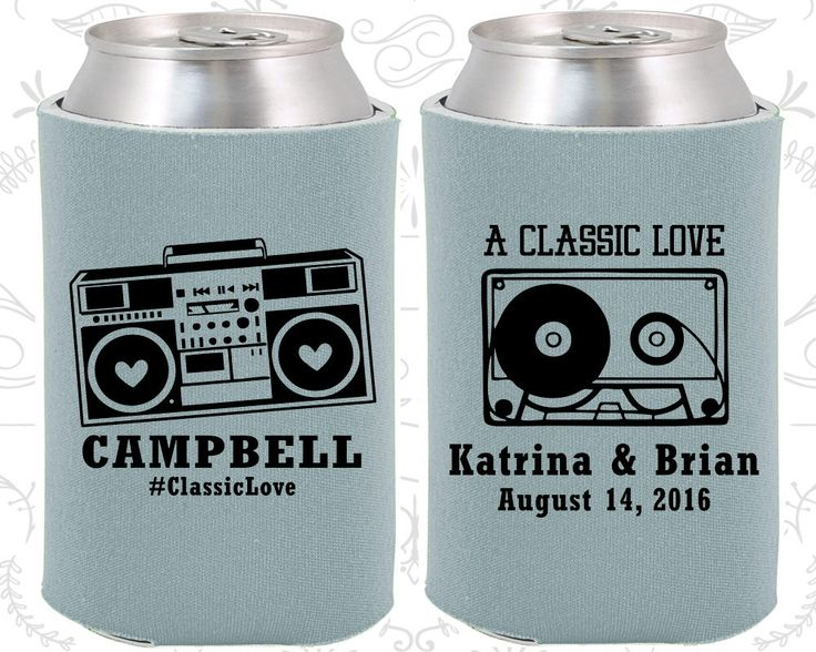 A Classic Love, Wedding Gift, Vintage Wedding Favors, Cassette Tape, Boombox, Retro Wedding Favors, Can Koozies (489)