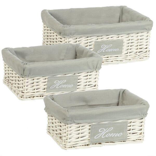 cestas de mimbre combinadas con tejido