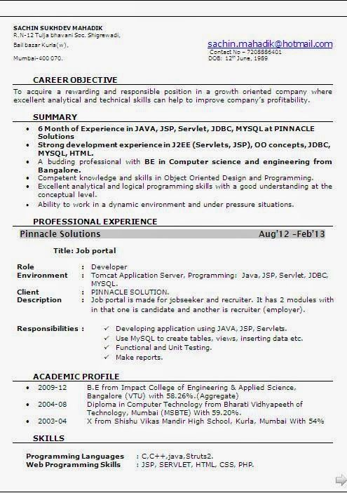 Resume Format For 4 Months Experience #experience #format #months