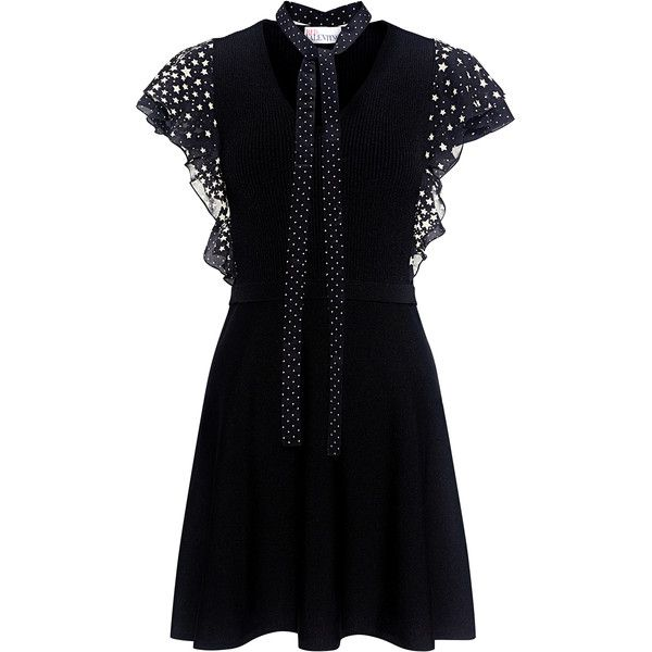 Red Valentino - Star Ruffled Sleeve Mini Knit Dress ($750) ❤ liked on Polyvore featuring dresses, slip on dress, star dress, dot dress, polka dot mini dress and lbd dress