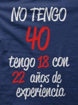 Camiseta No tengo 40 años-detalle