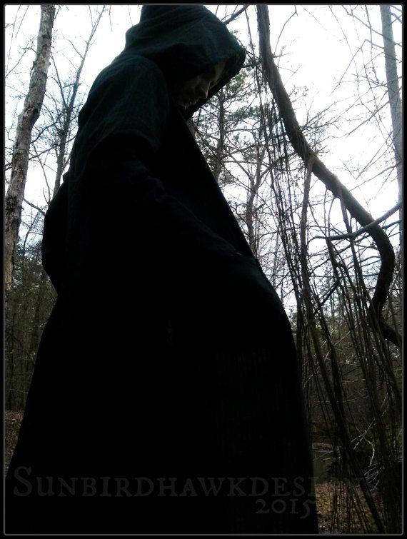 Sunbirdhawkdesigns sunbirdhawk occult gothic robe https://www.etsy.com/listing/227801237/long-black-hooded-robe-jacket-weightless