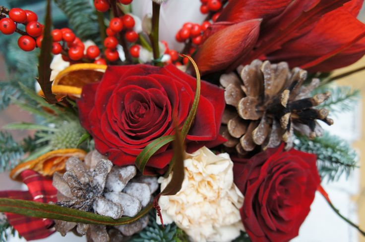 Close up of clay pot filled with warm Christmas blooms.
