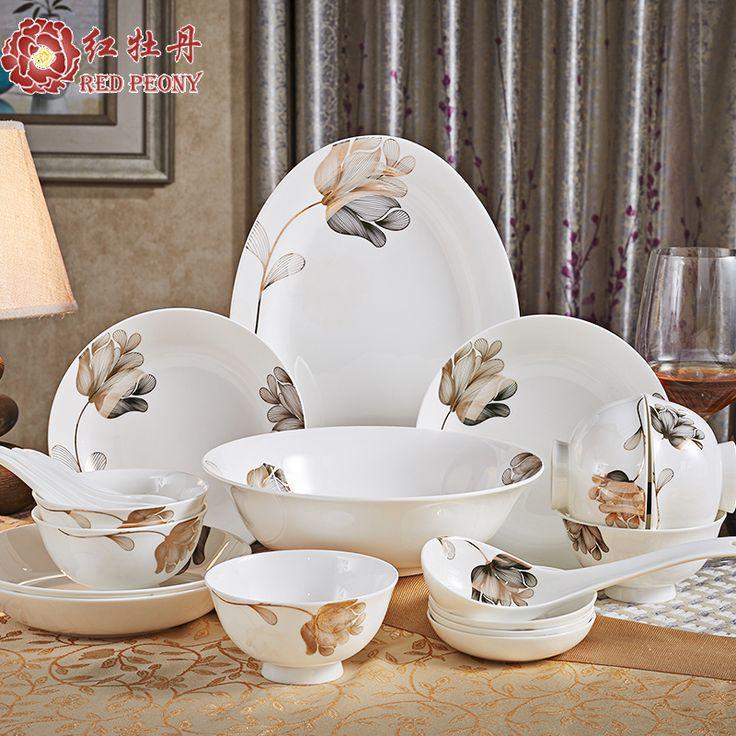 Red peony bowl set Chinese household bone china tableware dishes gift box with high-grade ceramic bowl chopsticks