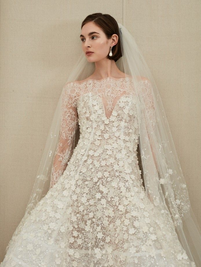 Bridal Fall 2019 Collection Look 11 From Oscar De La Renta Long Sleeve Floral Applique With High Lace Neckline For A Conservative Traditional Bride