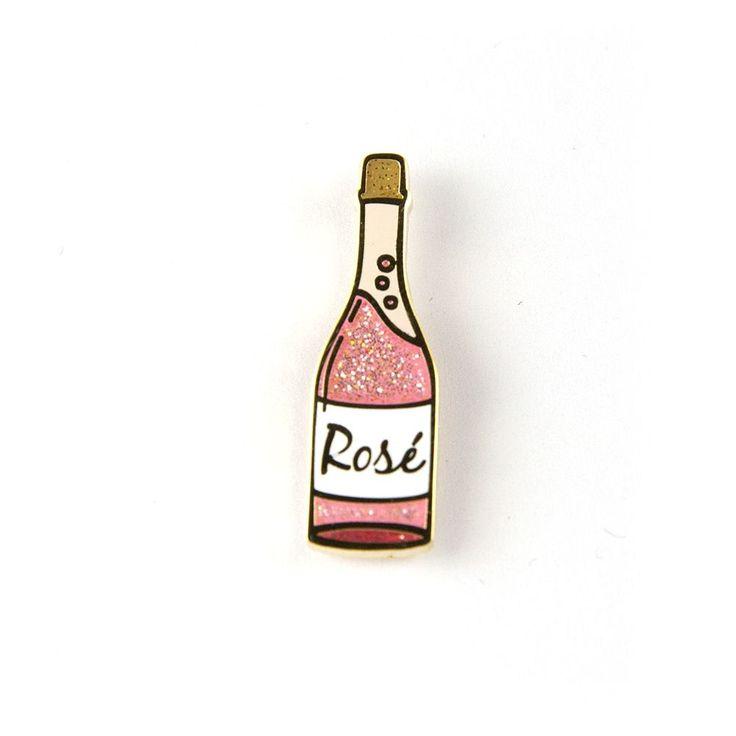 "Slay, then Rosé. • Hard Enamel • Sparkly • .9"" tall"