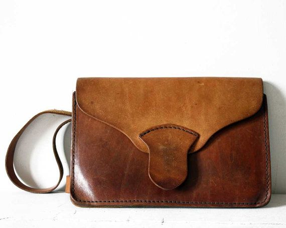 Lovely little Vintage French BROWN  Real LEATHER PURSE Handbag