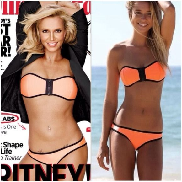 SALE! Britney Spears Bikini Celebrity inspired orange strapless zipper bikini. (As seen on Britney Spears on the latest issue of Women's Health) Tags say size medium, but bottom fits more like a small. Accessories