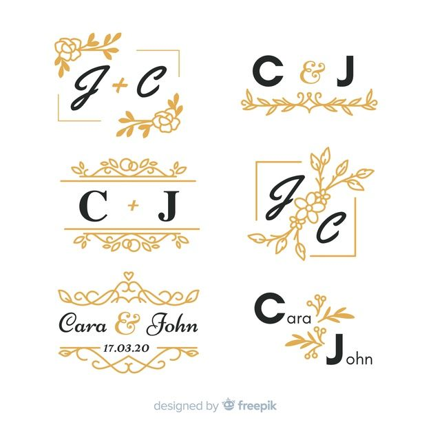 Download Set Of Beautiful Ornamental Wedding Monogram For Free Monogram Wedding Lettering Vector Free