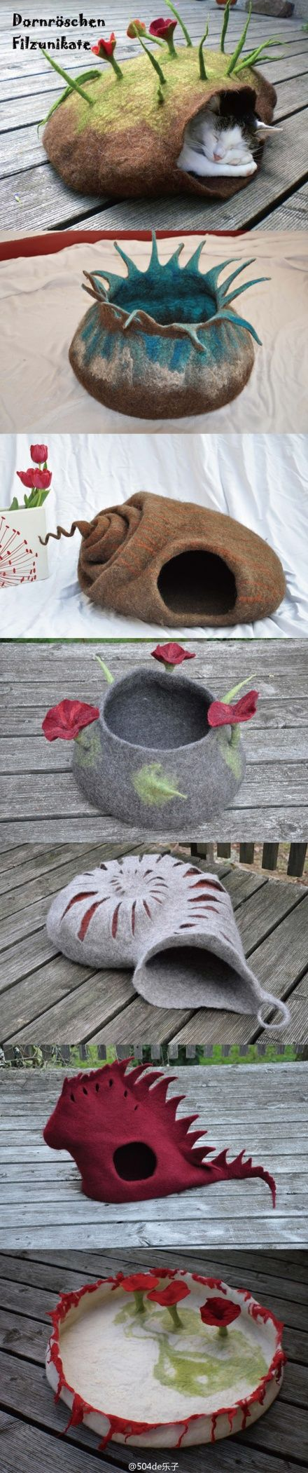 "felt cat beds  Would love to learn to do felting so I could make one of these for my ""grandkitties""! @Jodi Wissing Wissing Wissing Wissing Wissing Wissing Porter"
