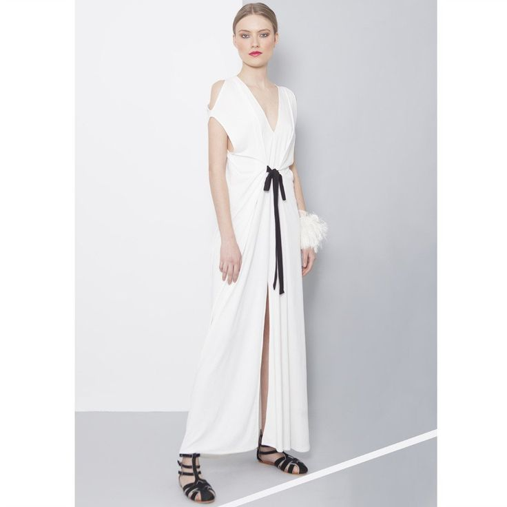 Cutout maxi dress with ribbons