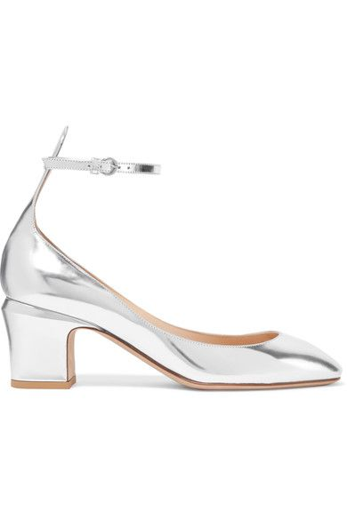Heel measures approximately 60mm/ 2.5 inches Silver mirrored-leather Buckle-fastening ankle strap Made in Italy