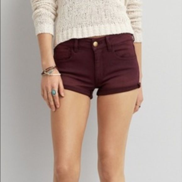 NWOT AE Maroon Hi-Rise shorts size 8 Tore off tags but never worn. Super stretchy hi-rise maroon shorts, size 8. *They're the color in the first picture.. Not sure why it's so distorted in the others* American Eagle Outfitters Shorts