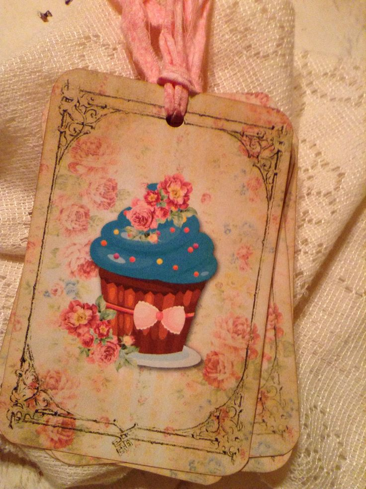 Shabby Chic Pink Floral Cupcake Birthday Gift Tags Favors Baked Goods Store Labels Tags Birthday Party Gift Wrap Package Embellishment