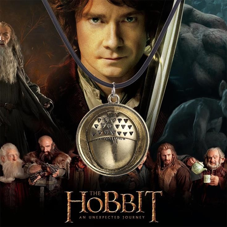 Movie-Lord-Ring-An-Unexpected-Journey-Bilbo-Baggins-acorn-button-rope-chain-necklace-pendant
