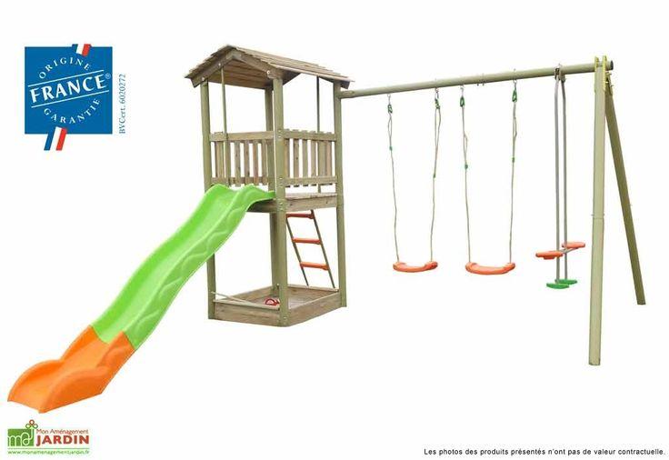 Votre portique toboggan et maisonnette en bois de chez Amca est un véritable terrain de jeux pour vos enfants. Il est composé de 2 balançoires (en plastique soufflé orange), 1 face à face (sièges soufflés de coloris orange avec repose-pieds vers ... (suite)