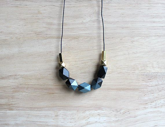 wooden geometric necklace // black by BelleAccessoires on Etsy