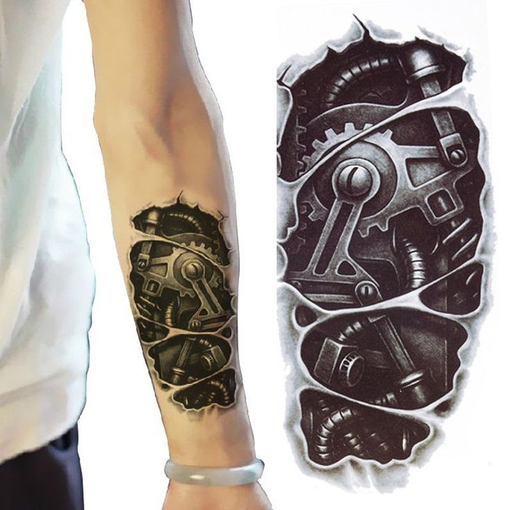 NEW! Terminator Tattoo £2.99 Temporary Stickers Body Art 3D Tatoo Waterproof Robot Arm