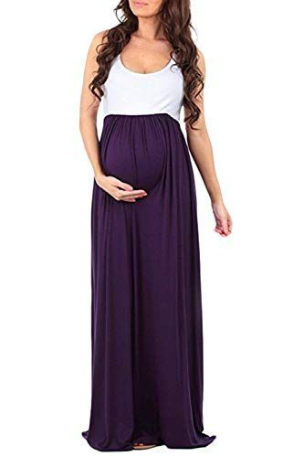 HX Fashion Maternity Dress Women's Sleeveless Round Neck Patchwork Classic Be … – # Beilä …