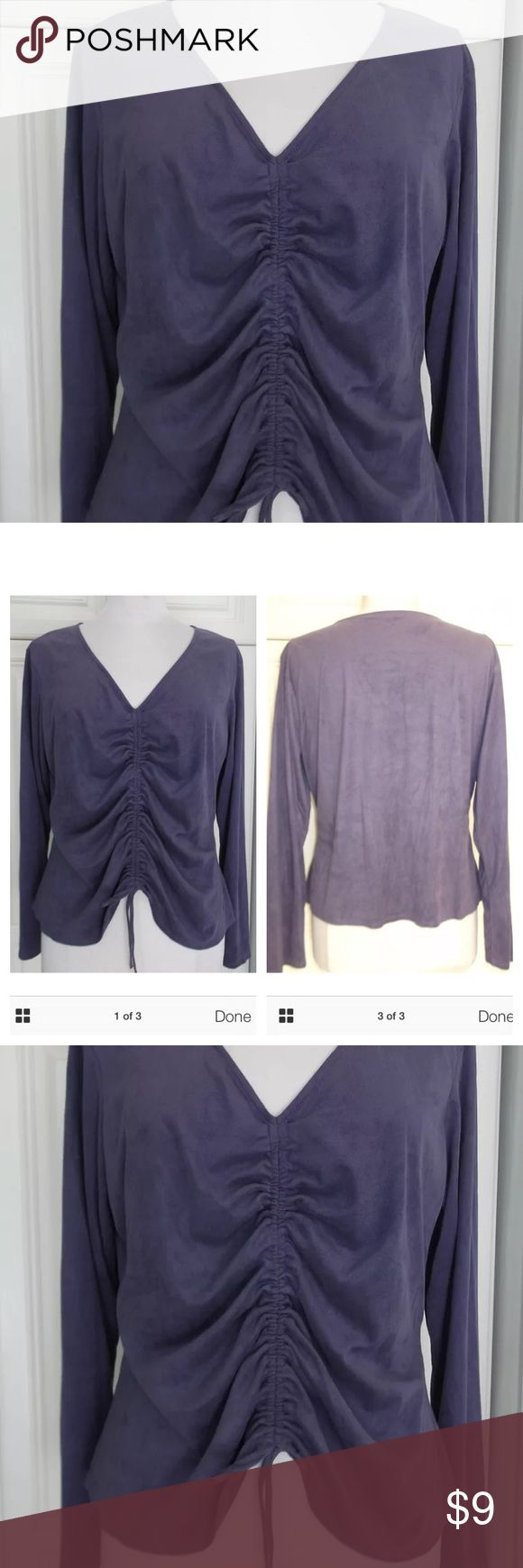 """Marks & Spencer XL purple faux suede blouse In very good condition no spots stains or tears,n good condition, no spots, stains or tears. Purple V-neck with long sleeves. Gathering down front with adjustable drawstring. Feels and looks like the softest most expensive suede but is actually polyester and washable. Also available in another listing is a blue one. Check out my other items! ALL MEASUREMENTS ARE TAKEN FLAT AND UNSTRETCHED  Chest: 45"""" Waist: 40""""  Length: 25""""  Sleeves:24""""  Shoulders…"""