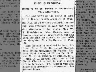 Mary H. Bruner death in Florida 13 January 1909 Charlotte News page 5