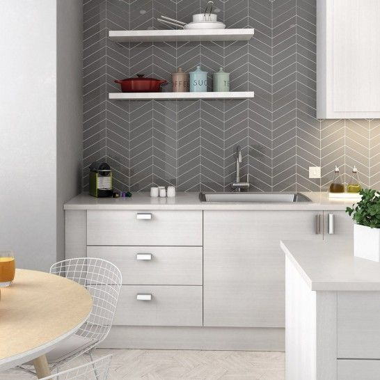 Arrows Gloss Dark Grey | Chevron Tiles | Porcelain Superstore