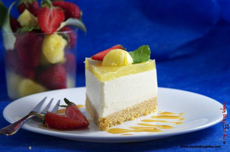 Cheesecake cioccolato bianco e ananas, ricetta dolce