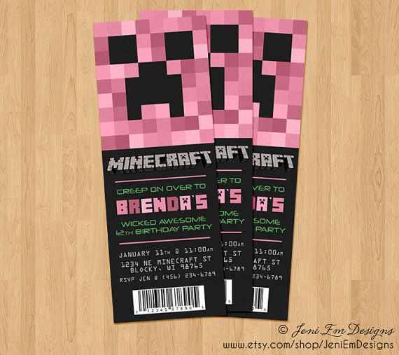 Creeper Invite Minecraft Birthday Ticket Invitation
