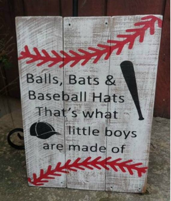 Balls Bats Baseball Hats Nursery Sign Boys By TheGingerbreadShed