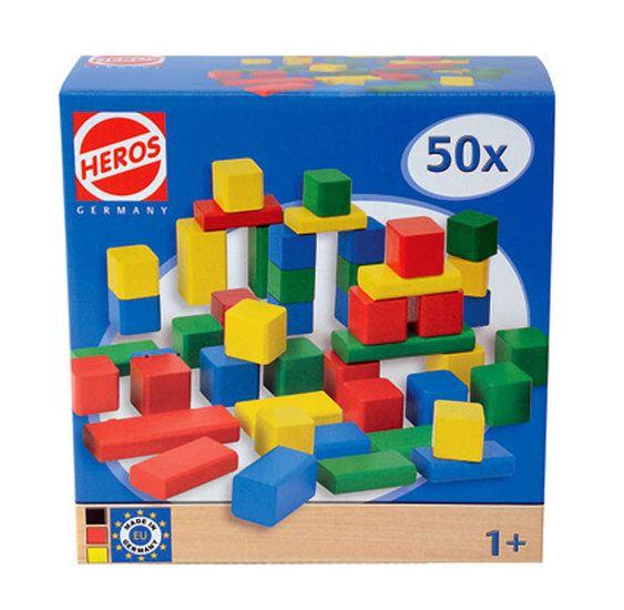 Heros houten bouwblokken, 50 delig   De Oude Speelkamer   Vintage  u0026 Retro   De Oude Speelkamer