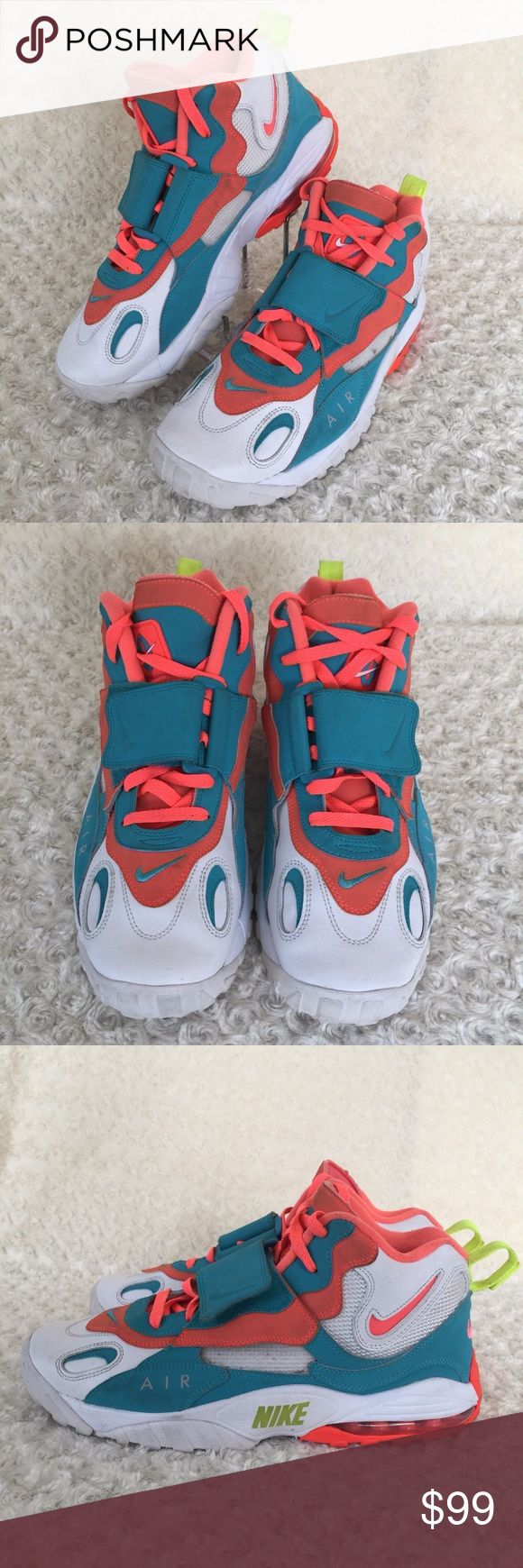 Nike Air Max Speed Men's Turf Shoes 525225-102 Nike Air Max Speed Turf Sz 11.5US Miami Dolphins Retro Inspired Shoes  Style: 525225-102 condition: shows little signs pf wear/dirt on it sole; pictures will show a more detailed description of the item condition  Football meets retro-inspired with this Nike style.   This high-top shoe features a durable leather upper PU midsole outfitted with a cushioning  Air-Sole® unit and solid rubber outsole Nike Shoes