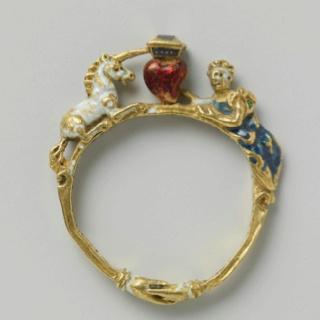 Unicorn and Maid ring. German 16th Century