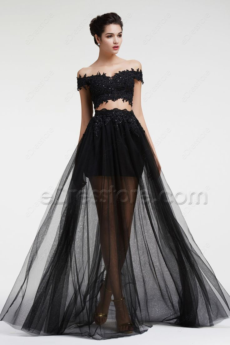 Black Lace Beaded Two Piece Prom Dresses Long | Dresses ...