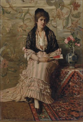 Franz Leo Ruben (German, 1842-1920) - Lady with fan