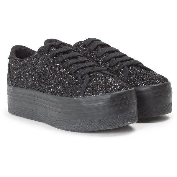 Jeffrey Campbell Zomg Glitter Sneakers (€49) ❤ liked on Polyvore featuring shoes, sneakers, nero, glitter sneakers, glitter trainers, black shoes, jeffrey campbell sneakers and black rubber sole shoes